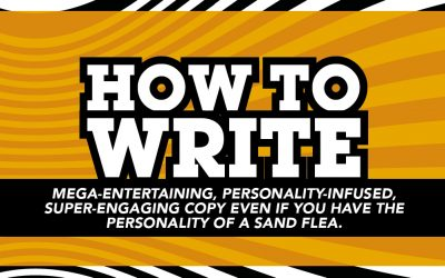 How to write mega entertaining, personality infused, super engaging copy, even if you have the personality of a sand flea.